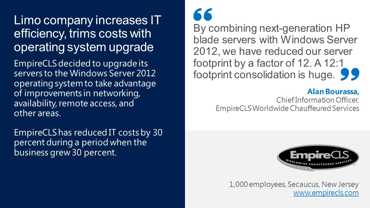 Windows Server 2003 End of Support 1,000 employees, Secaucus, New Jersey www.empirecls.com www.empirecls.com By combining next-generation HP blade ser