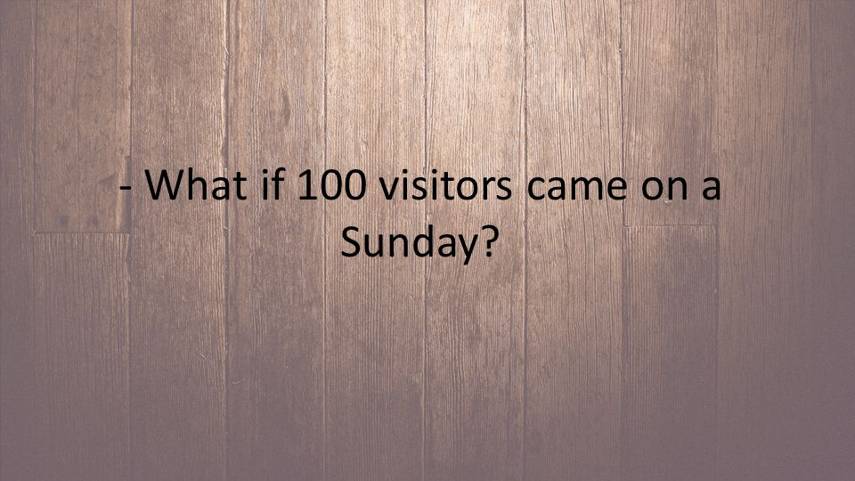 - What if 100 visitors came on a Sunday