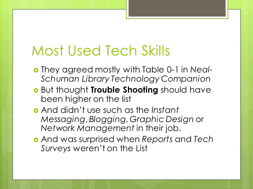 Most Used Tech Skills  They agreed mostly with Table 0-1 in Neal- Schuman Library Technology Companion  But thought Trouble Shooting should have been higher on the list  And didn't use such as the Instant Messaging, Blogging, Graphic Design or Network Management in their job.