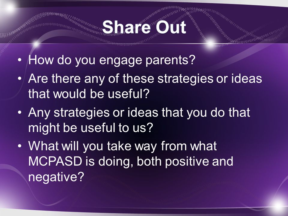 How do you engage parents? Are there any of these strategies or ideas that would be useful? Any strategies or ideas that you do that might be useful t