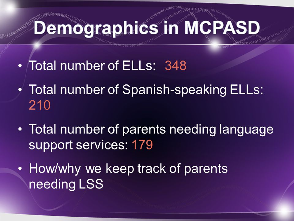 Total number of ELLs: 348 Total number of Spanish-speaking ELLs: 210 Total number of parents needing language support services: 179 How/why we keep tr