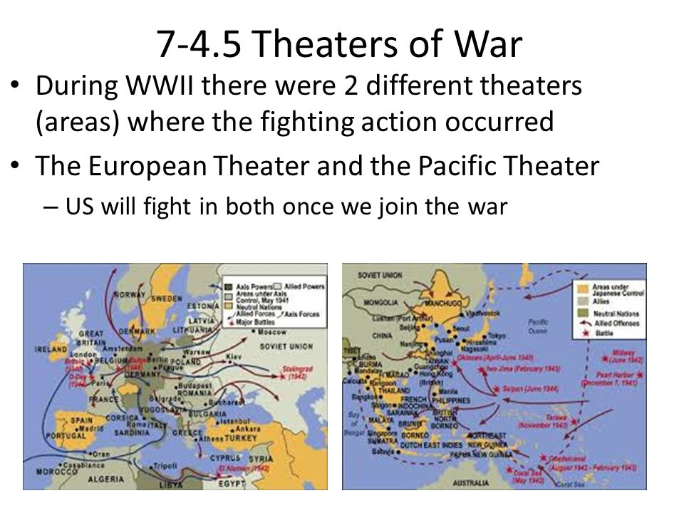 7-4.5 Theaters of War During WWII there were 2 different theaters (areas) where the fighting action occurred The European Theater and the Pacific Theater – US will fight in both once we join the war