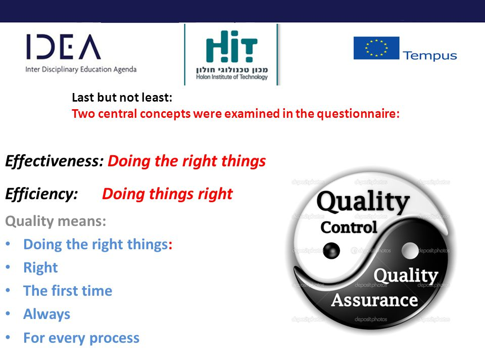 Effectiveness: Doing the right things Efficiency: Doing things right Quality means: Doing the right things: Right The first time Always For every process Last but not least: Two central concepts were examined in the questionnaire: