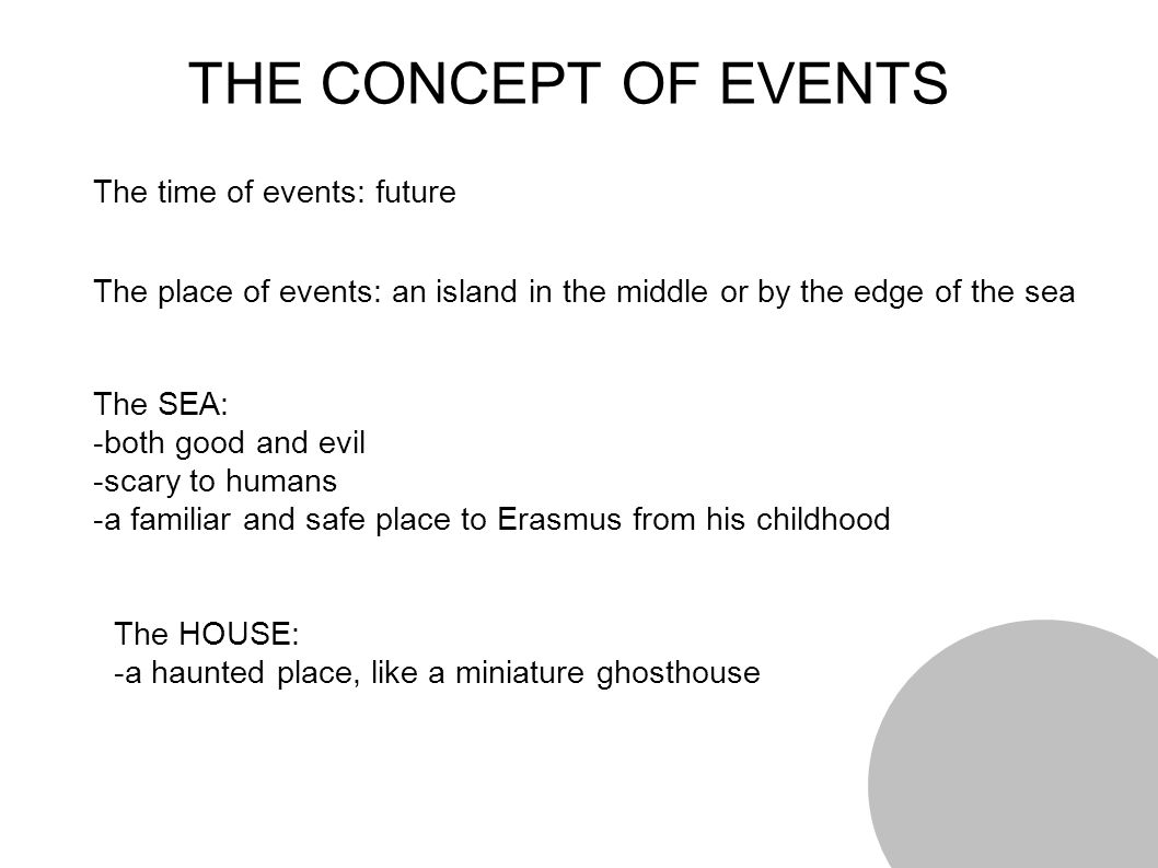 THE CONCEPT OF EVENTS The time of events: future The place of events: an island in the middle or by the edge of the sea The SEA: -both good and evil -scary to humans -a familiar and safe place to Erasmus from his childhood The HOUSE: -a haunted place, like a miniature ghosthouse