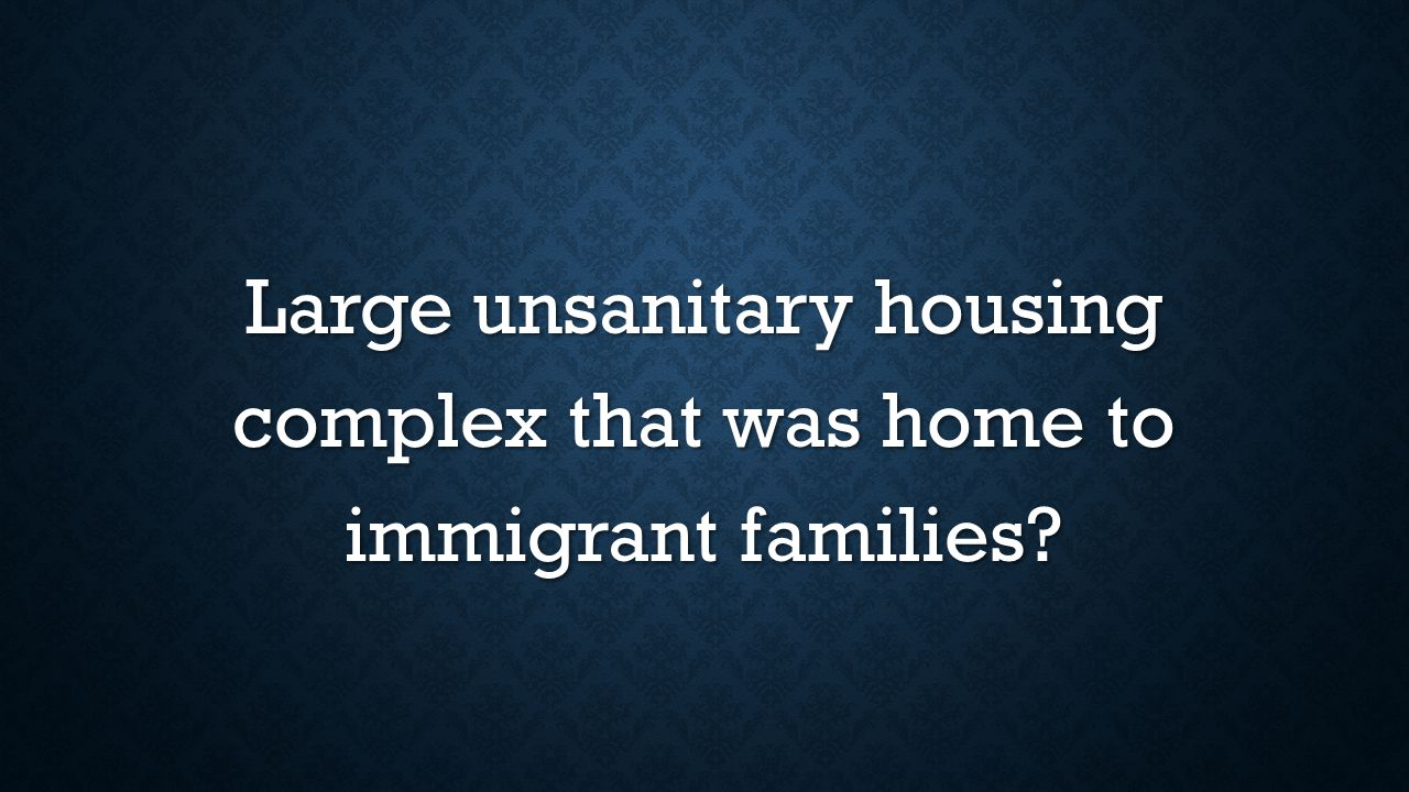 Large unsanitary housing complex that was home to immigrant families?