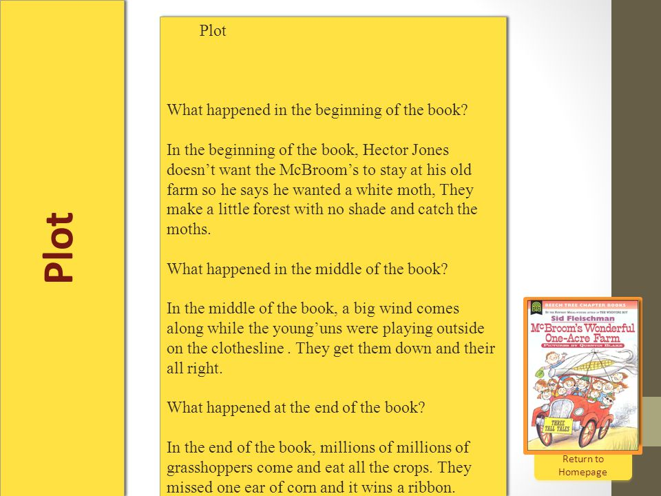 Plot Return to Homepage Return to Homepage Plot What happened in the beginning of the book.