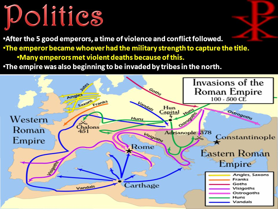 After the 5 good emperors, a time of violence and conflict followed.