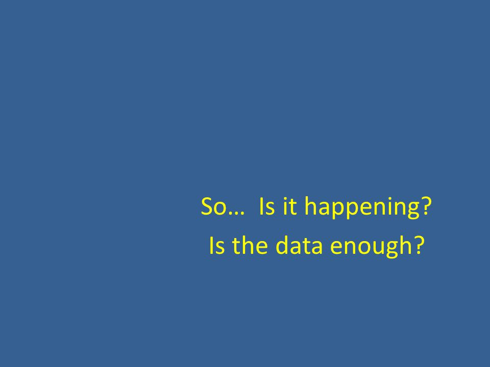 So… Is it happening? Is the data enough?