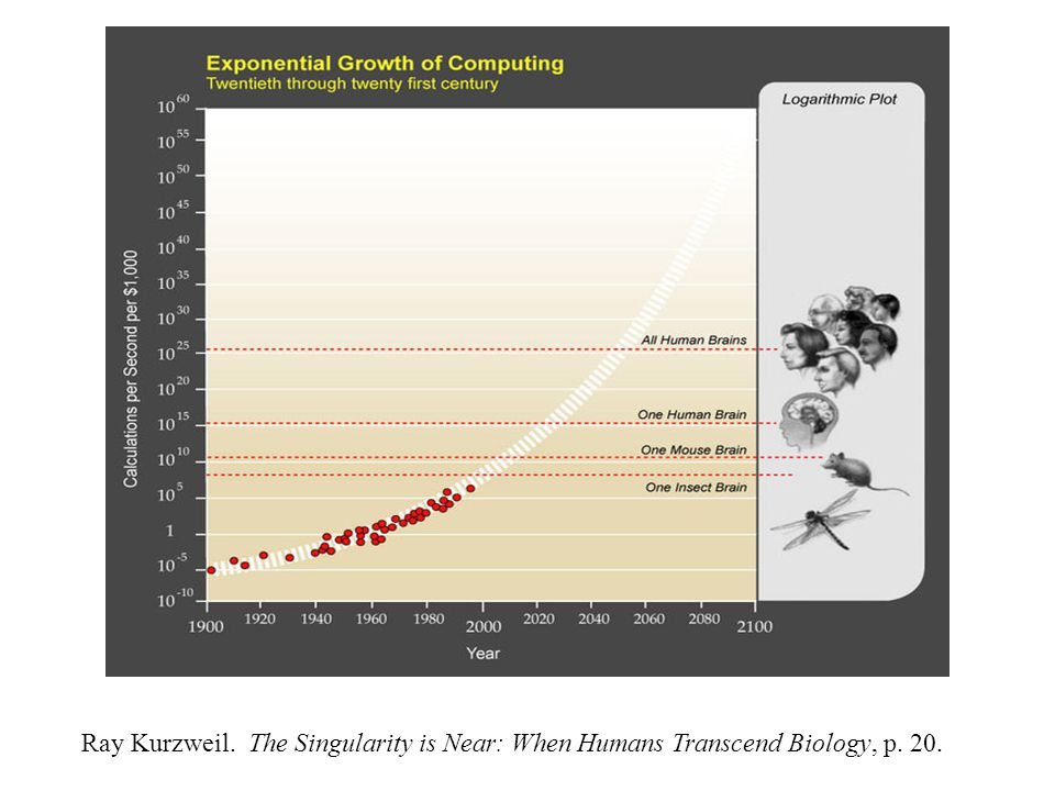 Ray Kurzweil. The Singularity is Near: When Humans Transcend Biology, p. 20.