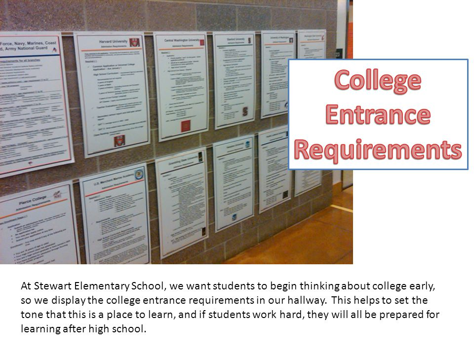 At Stewart Elementary School, we want students to begin thinking about college early, so we display the college entrance requirements in our hallway.