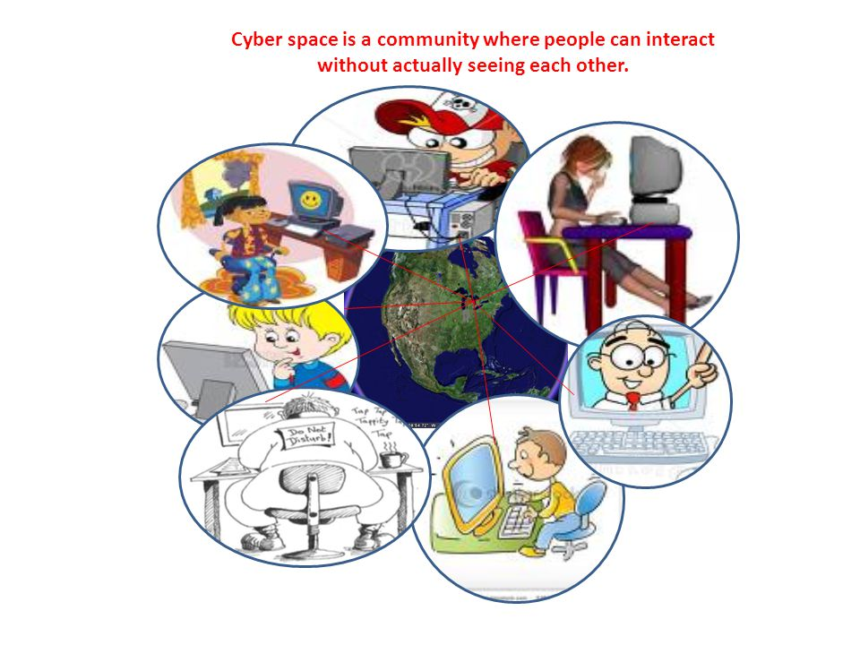 Cyber space is a community where people can interact without actually seeing each other.