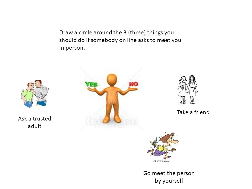 Draw a circle around the 3 (three) things you should do if somebody on line asks to meet you in person. Ask a trusted adult Take a friend Go meet the