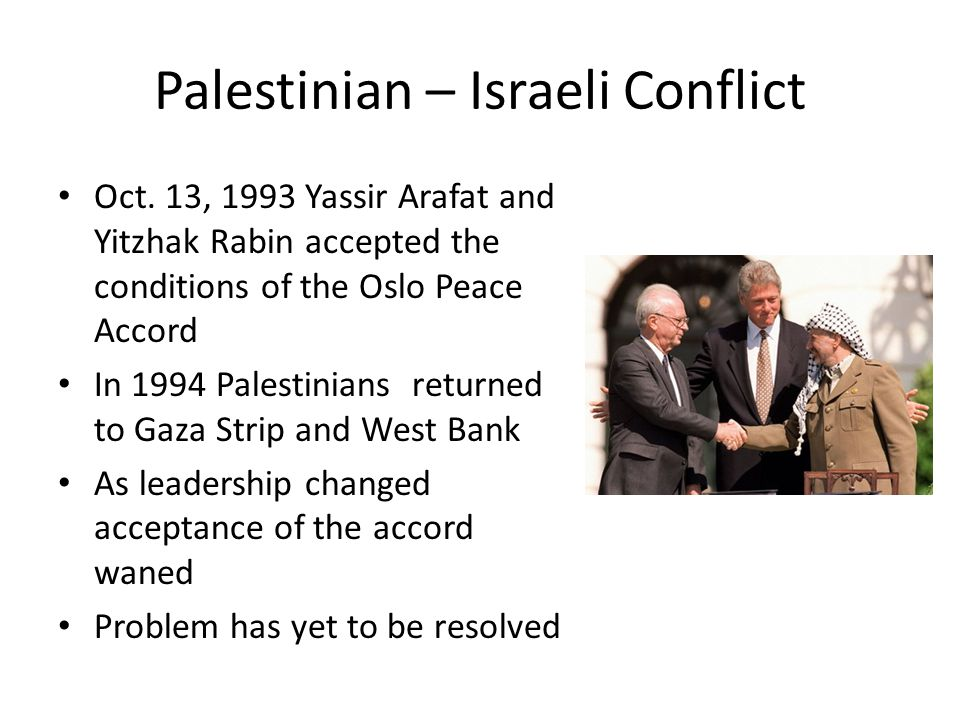 Palestinian – Israeli Conflict Oct.