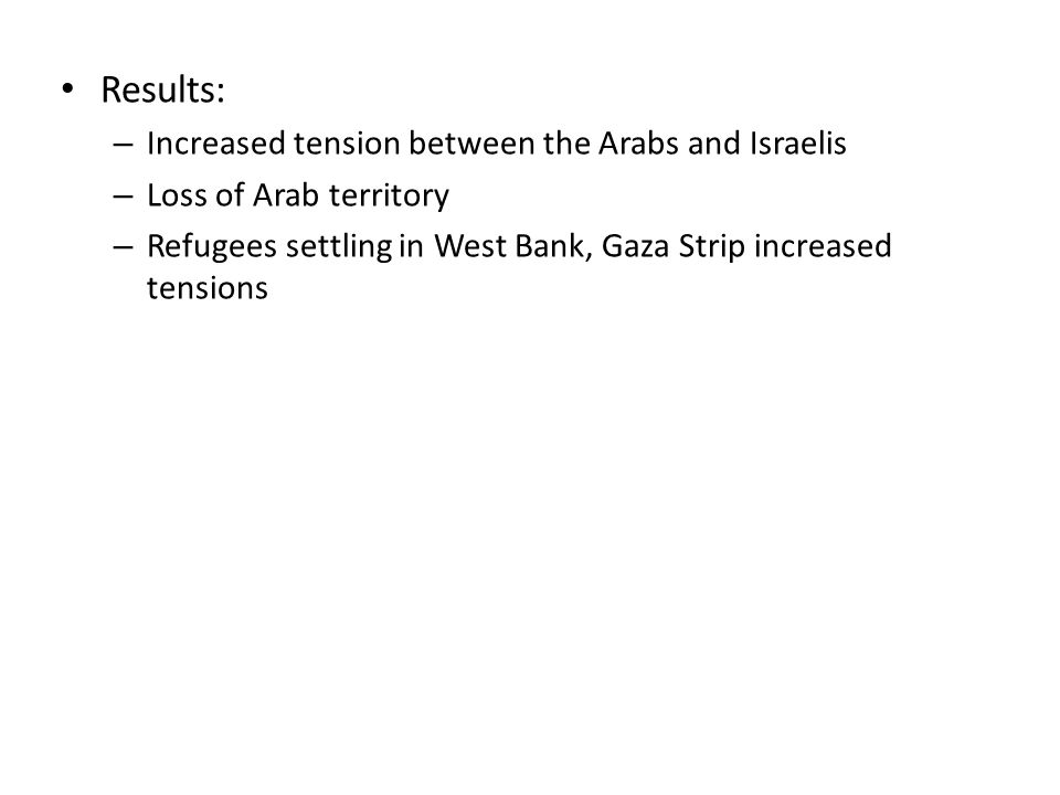 Results: – Increased tension between the Arabs and Israelis – Loss of Arab territory – Refugees settling in West Bank, Gaza Strip increased tensions
