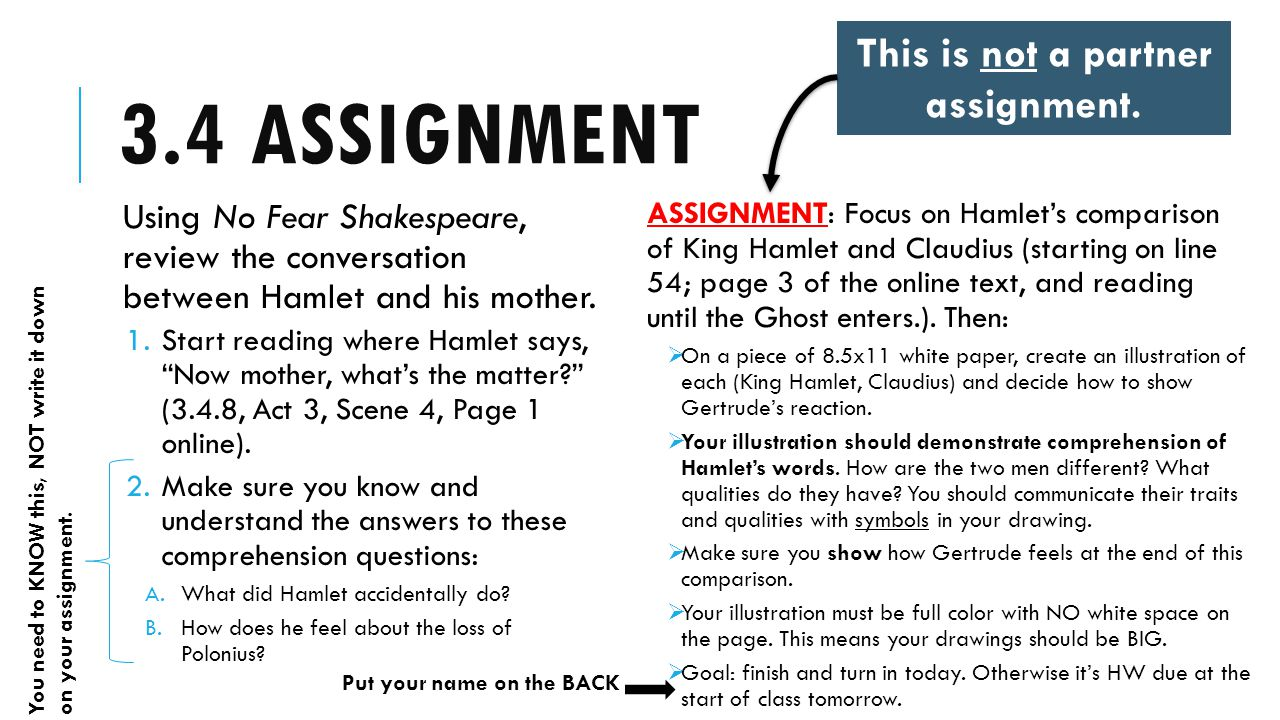 3.4 ASSIGNMENT Using No Fear Shakespeare, review the conversation between Hamlet and his mother.