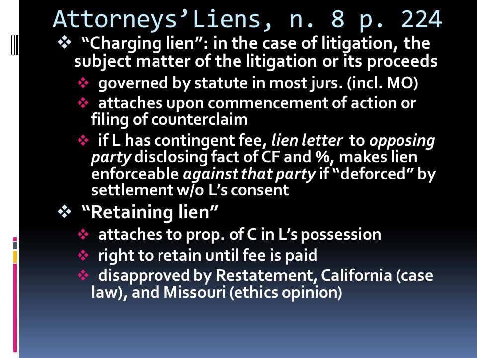 Attorneys'Liens, n. 8 p.
