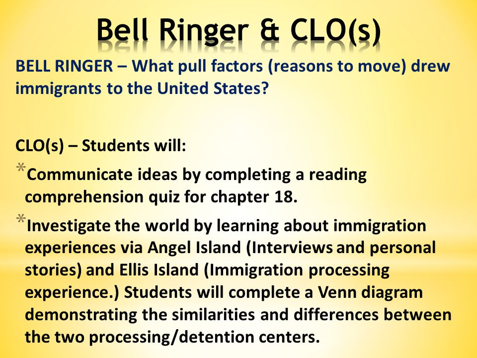 BELL RINGER – What pull factors (reasons to move) drew immigrants to the United States.