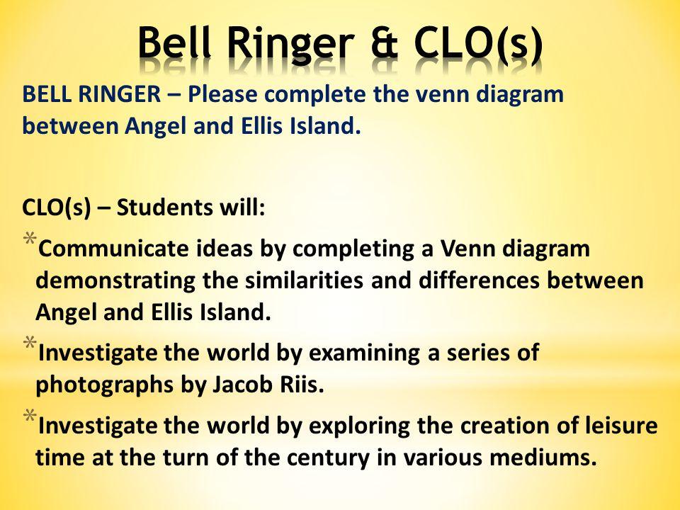 BELL RINGER – Please complete the venn diagram between Angel and Ellis Island.