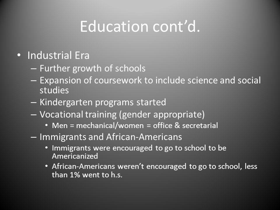 Education cont'd.