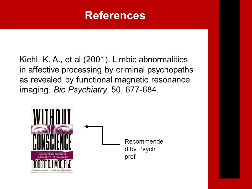 References Kiehl, K. A., et al (2001). Limbic abnormalities in affective processing by criminal psychopaths as revealed by functional magnetic resonan