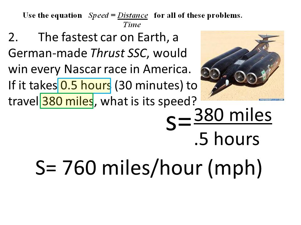 2. The fastest car on Earth, a German-made Thrust SSC, would win every Nascar race in America.