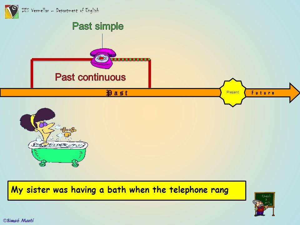 IES Vermellar – Department of English Present My sister was having a bathwhen the telephone rang ©Simeó Martí