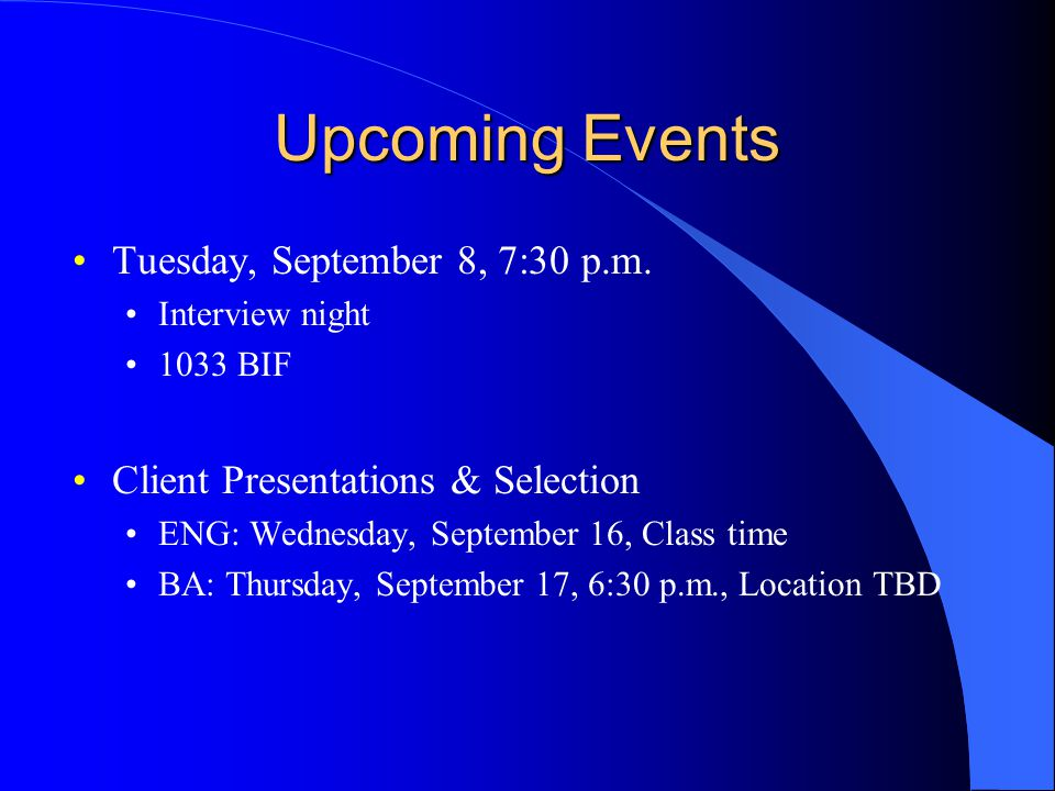 Upcoming Events Tuesday, September 8, 7:30 p.m.