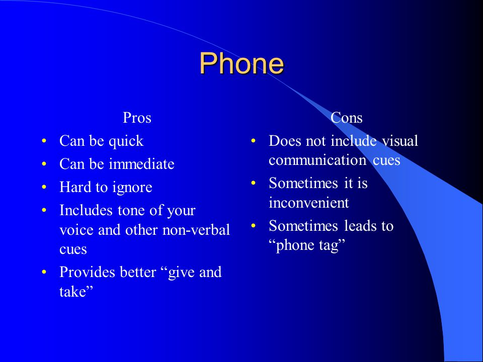 Phone Pros Can be quick Can be immediate Hard to ignore Includes tone of your voice and other non-verbal cues Provides better give and take Cons Does not include visual communication cues Sometimes it is inconvenient Sometimes leads to phone tag