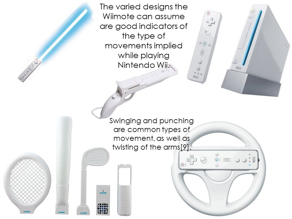 The varied designs the Wiimote can assume are good indicators of the type of movements implied while playing Nintendo Wii. Swinging and punching are c