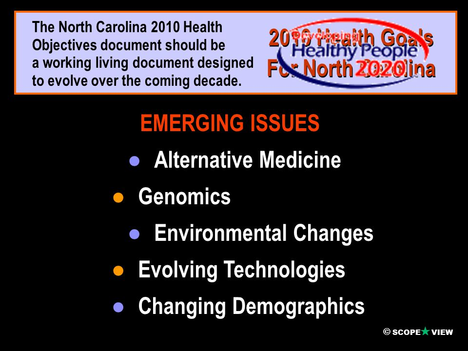  ● Increase healthy life span of North Carolinians.