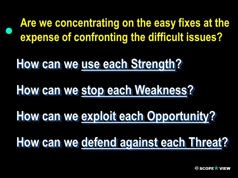  How can we use each Strength. How can we stop each Weakness.
