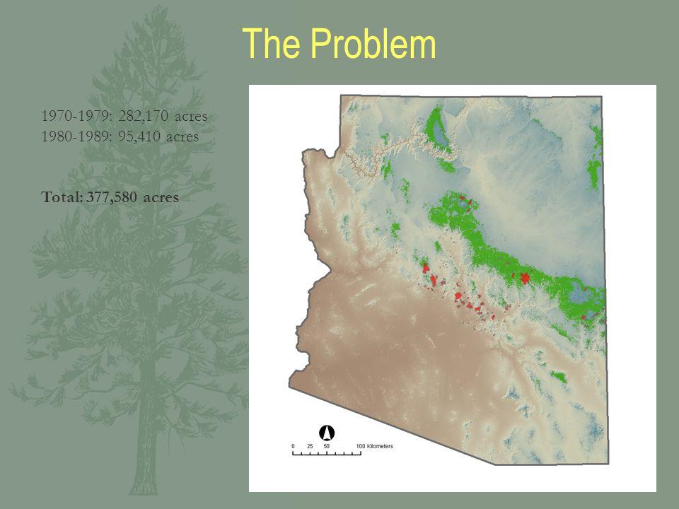1970-1979: 282,170 acres 1980-1989: 95,410 acres Total: 377,580 acres The Problem