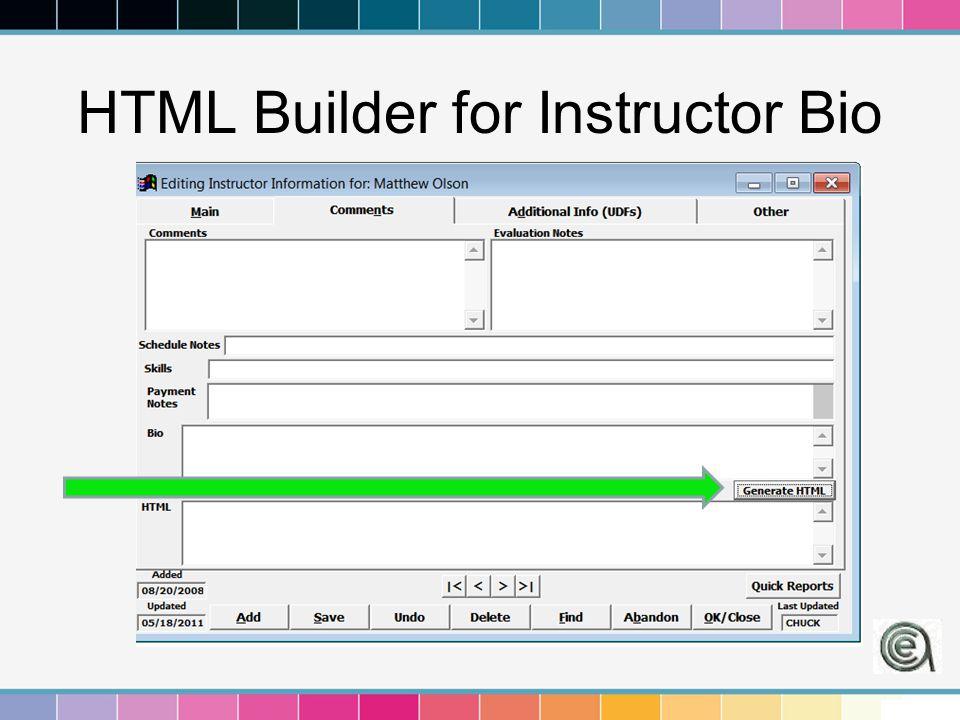 HTML Builder for Instructor Bio