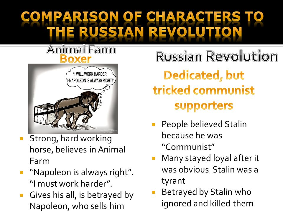 "SStrong, hard working horse, believes in Animal Farm """"Napoleon is always right"". ""I must work harder"". GGives his all, is betrayed by Napoleon,"