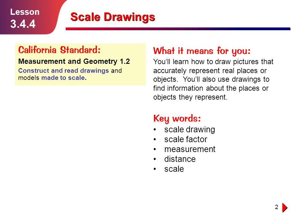2 Lesson 3.4.4 Scale Drawings California Standard: Measurement and Geometry 1.2 Construct and read drawings and models made to scale. What it means fo