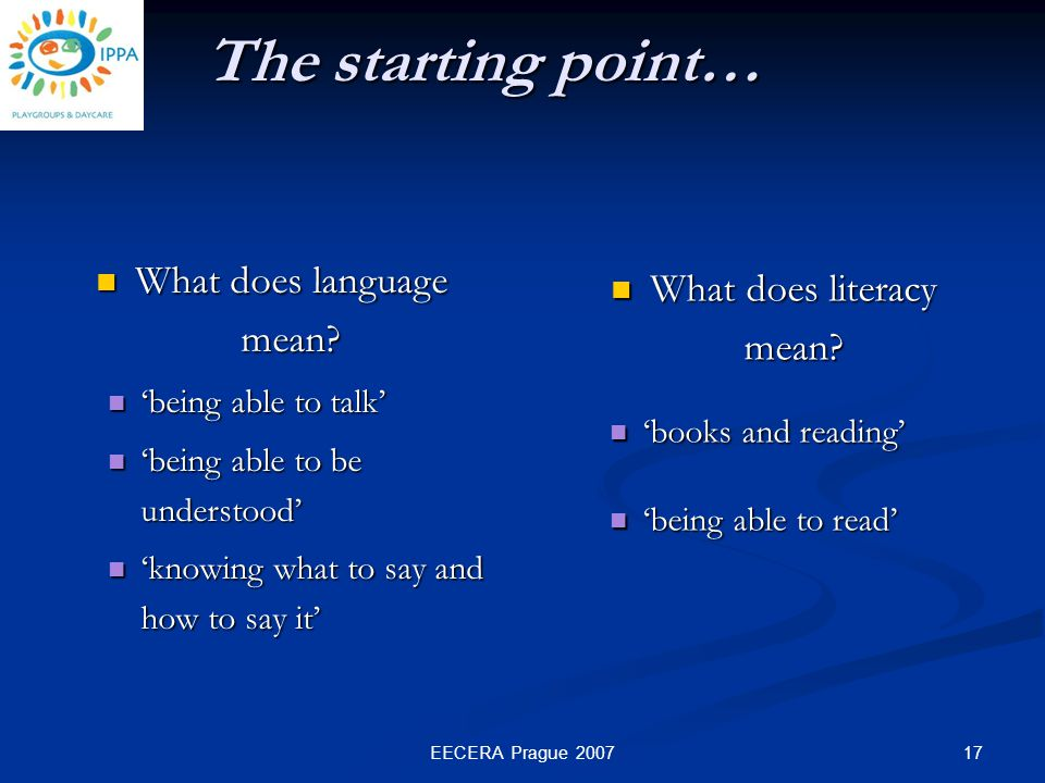 17EECERA Prague 2007 The starting point… What does language mean.