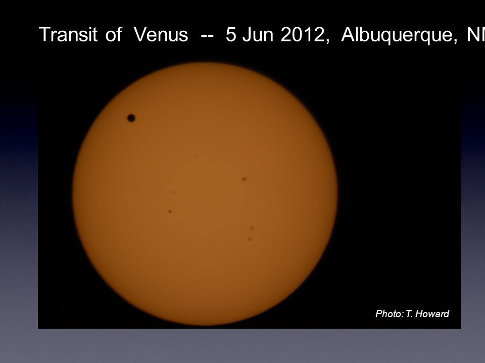 Transit of Venus -- 5 Jun 2012, Albuquerque, NM Photo: T. Howard