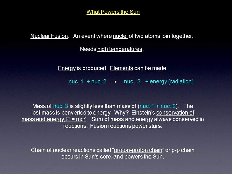 What Powers the Sun Nuclear Fusion: An event where nuclei of two atoms join together. Needs high temperatures. Mass of nuc. 3 is slightly less than ma