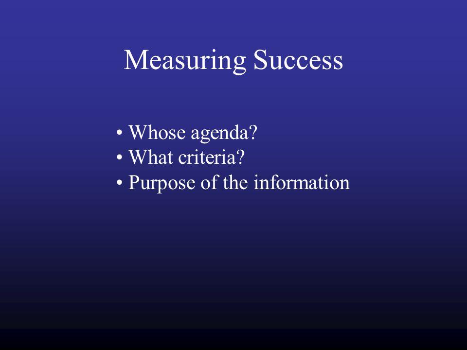 Measuring Success Whose agenda What criteria Purpose of the information