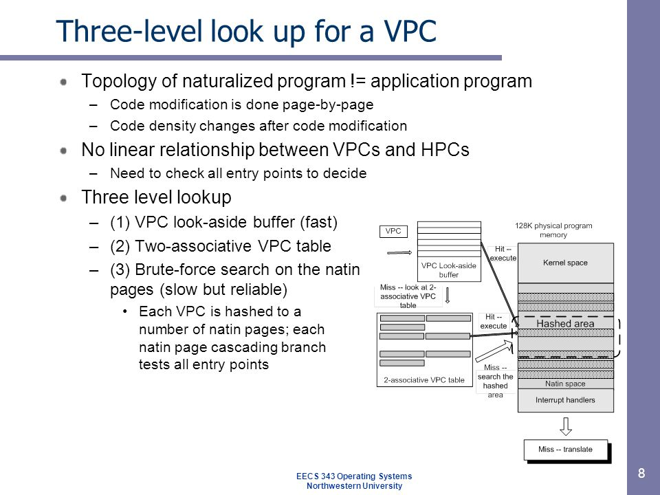 8 Three-level look up for a VPC Topology of naturalized program != application program –Code modification is done page-by-page –Code density changes after code modification No linear relationship between VPCs and HPCs –Need to check all entry points to decide Three level lookup –(1) VPC look-aside buffer (fast) –(2) Two-associative VPC table –(3) Brute-force search on the natin pages (slow but reliable) Each VPC is hashed to a number of natin pages; each natin page cascading branch tests all entry points EECS 343 Operating Systems Northwestern University