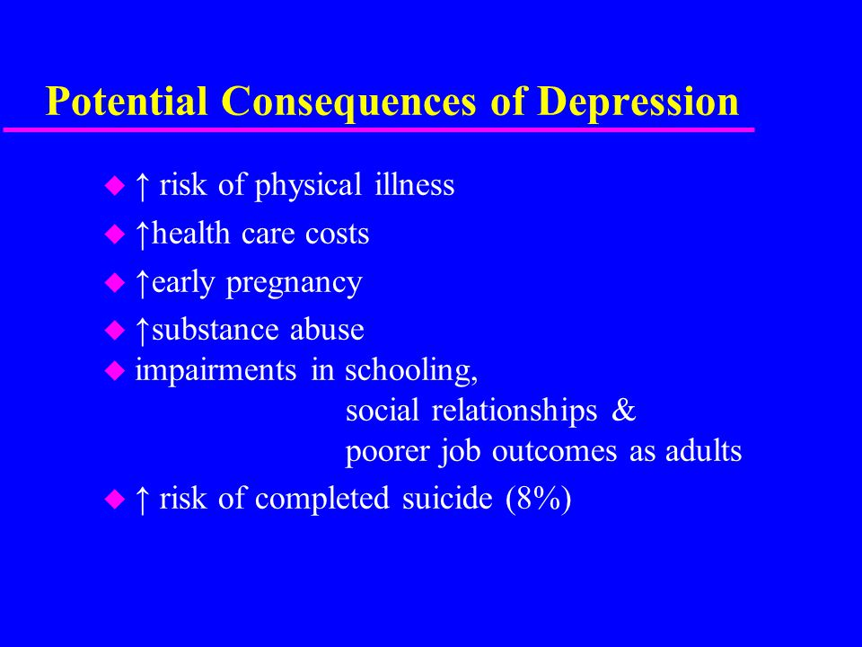 Potential Consequences of Depression u ↑ risk of physical illness u ↑health care costs u ↑early pregnancy u ↑substance abuse u impairments in schooling, social relationships & poorer job outcomes as adults u ↑ risk of completed suicide (8%)