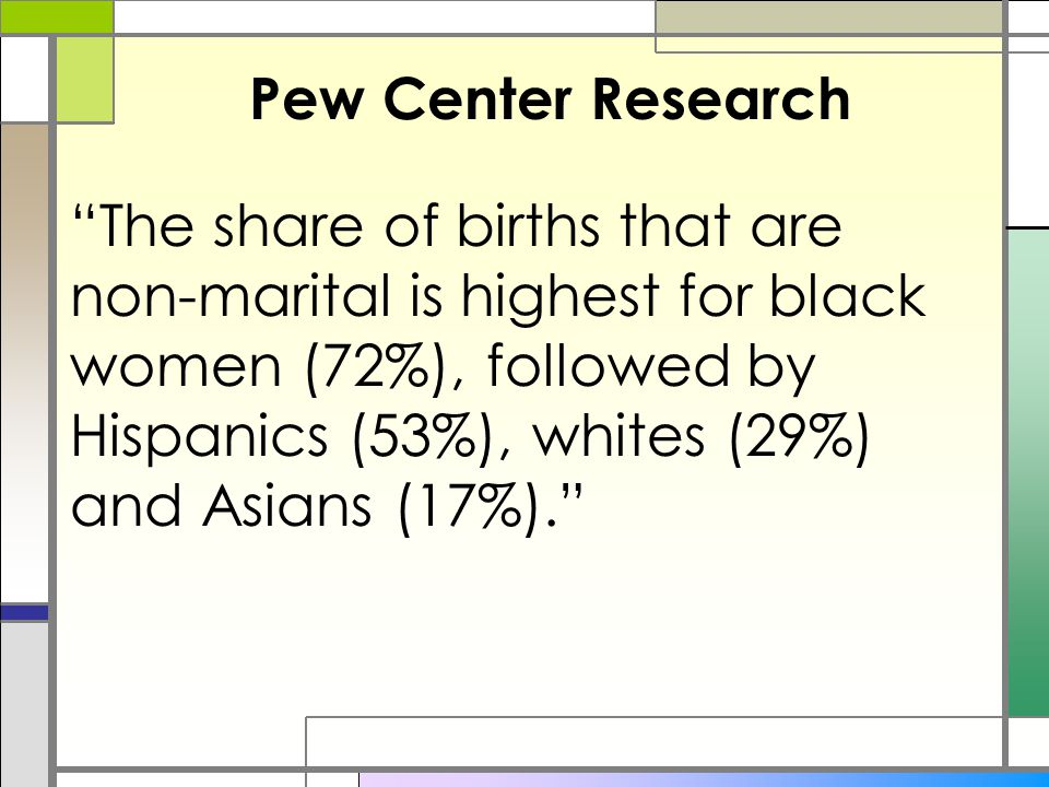 "Pew Center Research ""The share of births that are non-marital is highest for black women (72%), followed by Hispanics (53%), whites (29%) and Asians ("