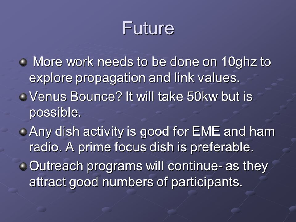 Future More work needs to be done on 10ghz to explore propagation and link values.