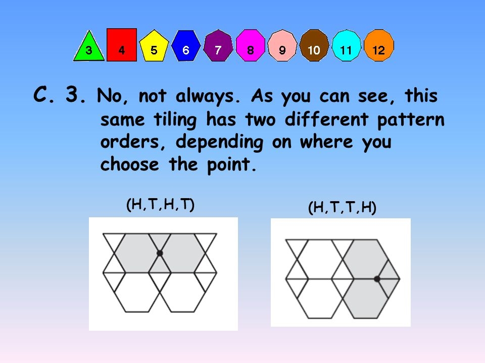 C. 2. The following polygons fit around these points. Two Hexagons and Two Triangles. Pattern: Hexagon, Triangle, Hexagon, and Triangle. (H,T,H,T) Two