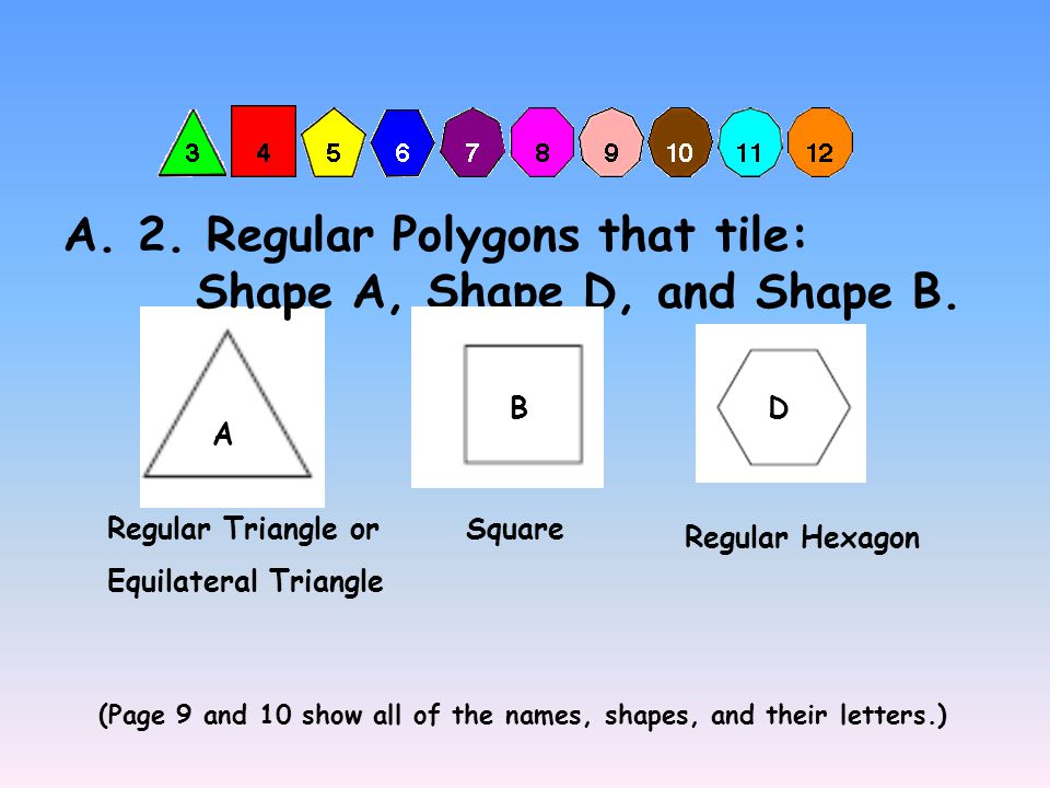 A. 1. The only possible shapes and tiling patterns. Remember, you weren't supposed to use B in your sketch here!! A D B