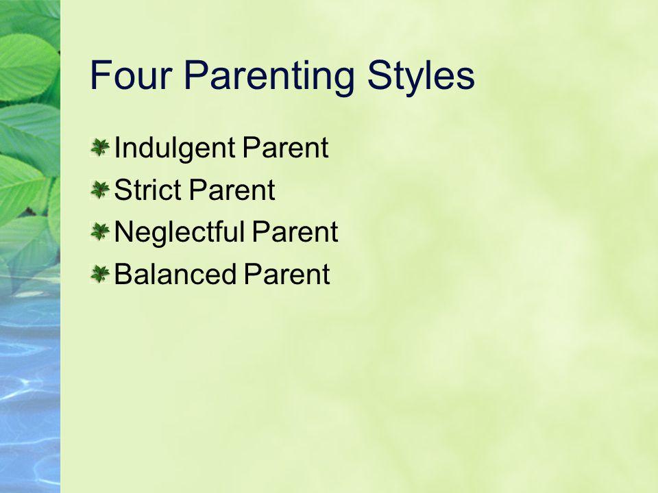 Four Parenting Styles Indulgent Parent Strict Parent Neglectful Parent Balanced Parent