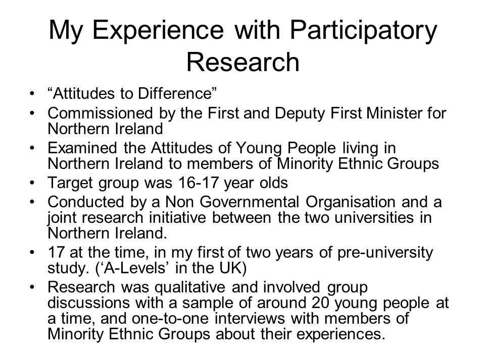 """My Experience with Participatory Research """"Attitudes to Difference"""" Commissioned by the First and Deputy First Minister for Northern Ireland Examined"""