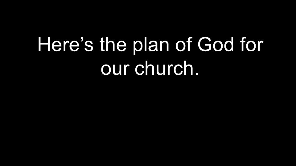 Here's the plan of God for our church.