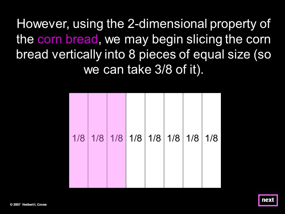 Notice that as used in the preceding slides, the corn bread is simply a thick number line.