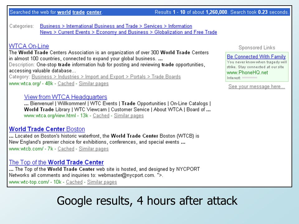 Google results, 4 hours after attack